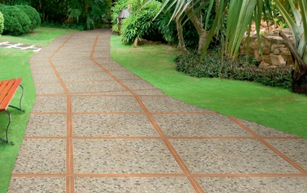 Pavimentazione da giardino naturale parzialmente naturale - Pavimentazione cortile esterno ...